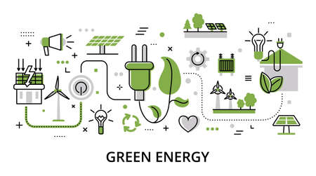 Green Energy concept, flat line design vector illustration, for graphic and web design