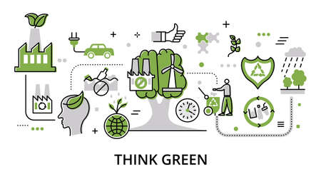 Concept of think green and save the world, modern flat thin line design vector illustration, for graphic and web design Çizim