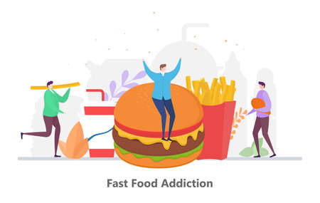 Concept of Fast Food Addiction, flat design vector illustration, for graphic and web design