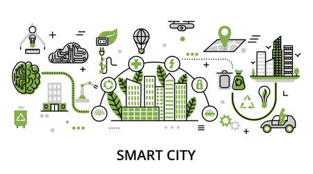 Smart City concept, flat line design vector illustration, for graphic and web design