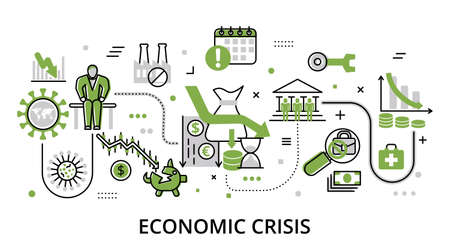 Economic Crisis greenery concept, flat line design vector illustration, for graphic and web design Çizim