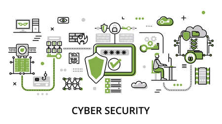 Concept Network and Cyber Security, flat line design vector illustration, for graphic and web design