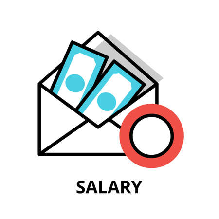 Concept of Salary icon, modern flat thin line design vector illustration, for graphic and web design Çizim