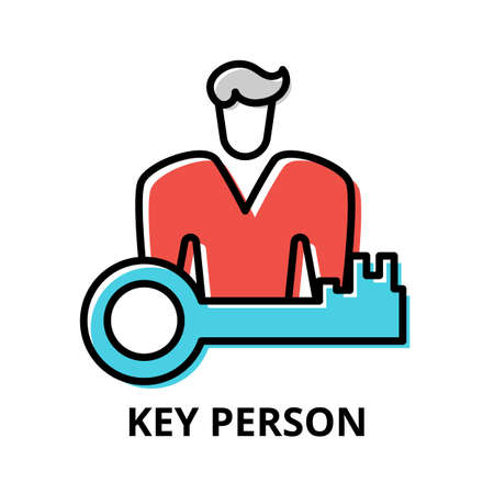 Concept of Key Person icon, modern flat thin line design vector illustration, for graphic and web design Çizim