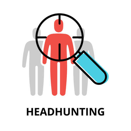 Concept of Headhunting icon, modern flat thin line design vector illustration, for graphic and web design Çizim