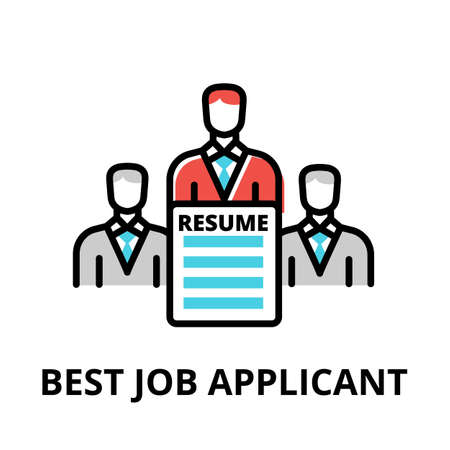 Concept of Best Job Applicant icon, modern flat thin line design vector illustration, for graphic and web design
