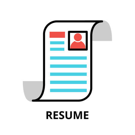 Concept of Resume icon, modern flat thin line design vector illustration, for graphic and web design
