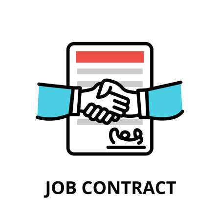 Concept of Job Contract icon, modern flat thin line design vector illustration, for graphic and web design Çizim