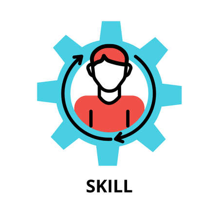 Concept of Skill icon, modern flat thin line design vector illustration, for graphic and web design