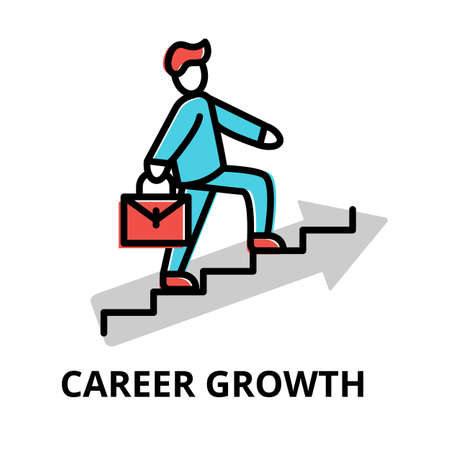 Concept of Career Growth icon, modern flat thin line design vector illustration, for graphic and web design Çizim