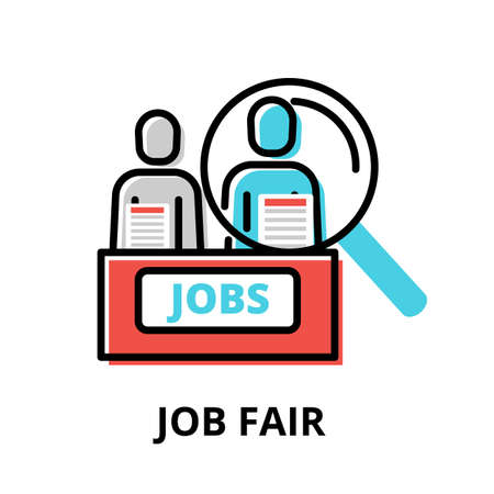 Concept of Job Fair icon, modern flat thin line design vector illustration, for graphic and web design Çizim