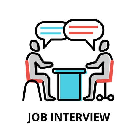 Concept of Job Interview icon, modern flat thin line design vector illustration, for graphic and web design