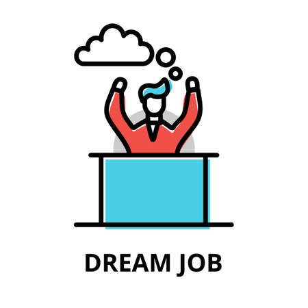 Concept of Dream Job icon, modern flat thin line design vector illustration, for graphic and web design Çizim