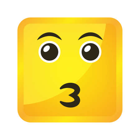 Yellow square emoticons and emojis. Vector illustration in flat style close-up Çizim