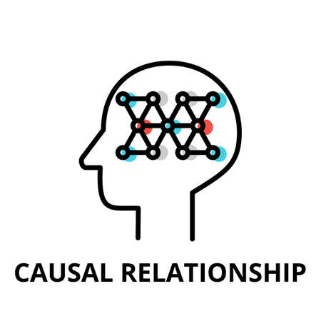 Icon concept of Causal Relationship, brain process collection, flat editable line vector illustration, for graphic and web design