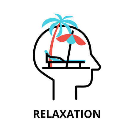 Icon concept of Relaxation, brain process collection, flat editable line vector illustration, for graphic and web design Çizim