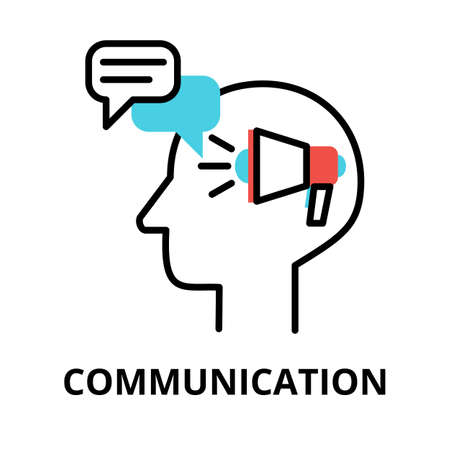 Icon concept of Communication, brain process collection, flat editable line vector illustration, for graphic and web design Çizim