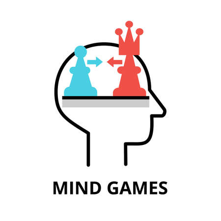 Icon concept of Mind Games, brain process collection, flat editable line vector illustration, for graphic and web design