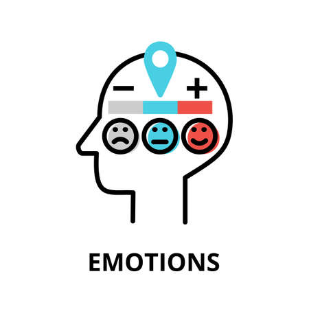 Icon concept of Emotions, brain process collection, flat editable line vector illustration, for graphic and web design