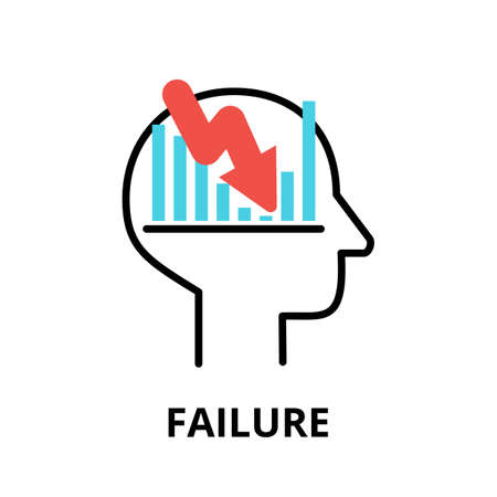 Icon concept of Failure, brain process collection, flat editable line vector illustration, for graphic and web design
