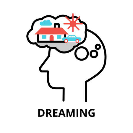 Icon concept of Dreaming, brain process collection, flat editable line vector illustration, for graphic and web design