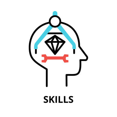 Icon concept of Skills, brain process collection, flat editable line vector illustration, for graphic and web design