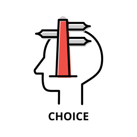 Icon concept of Choice, brain process collection, flat editable line vector illustration, for graphic and web design