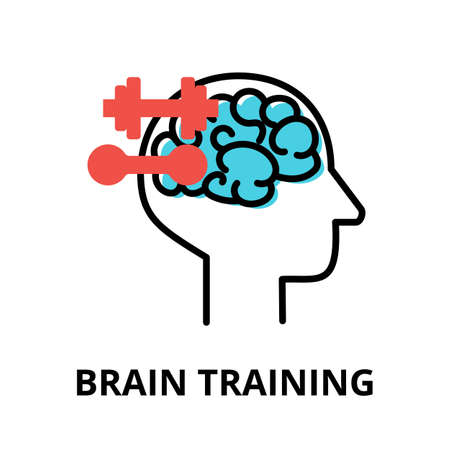 Icon concept of Brain Training, brain process collection, flat editable line vector illustration, for graphic and web design