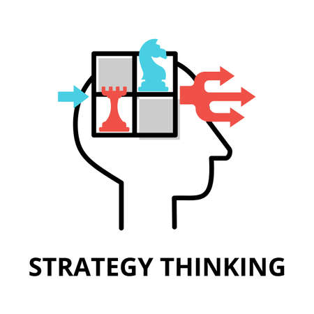 Icon concept of Strategy Thinking, brain process collection, flat editable line vector illustration, for graphic and web design