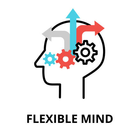 Icon concept of Flexible Mind, brain process collection, flat editable line vector illustration, for graphic and web design