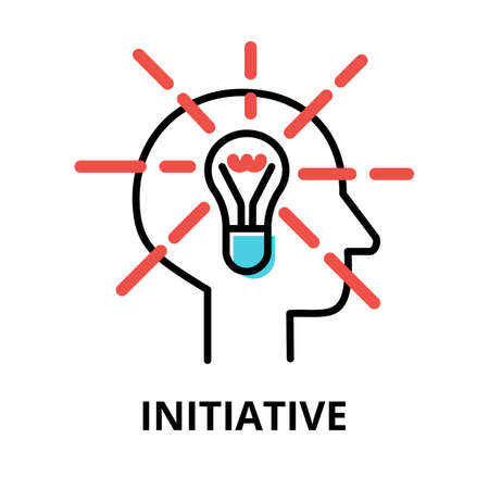 Icon concept of Initiative, brain process collection, flat editable line vector illustration, for graphic and web design