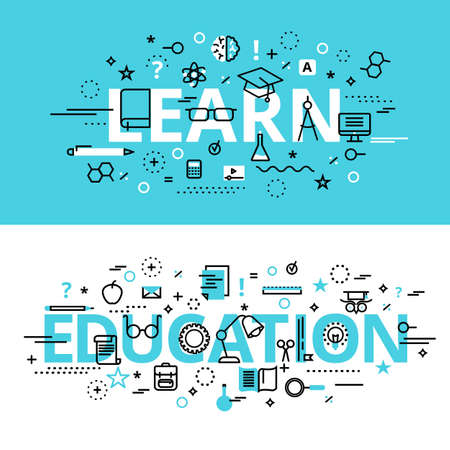Set of Education and Learn concepts, modern flat thin line design vector illustration, for graphic and web design Ilustración de vector