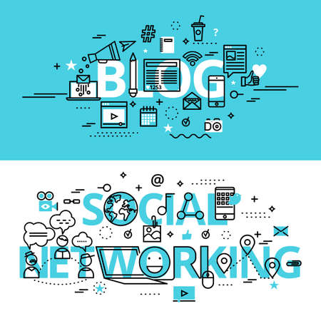 Set of Social Networking and Blog concepts, modern flat thin line design vector illustration, for graphic and web design