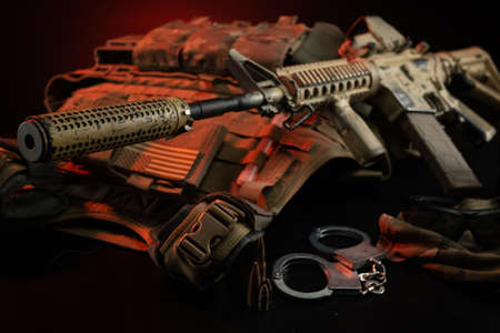 the weapons, armor, and ammunition of a special military unit or  police officer 版權商用圖片