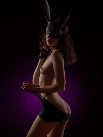 girl sexy Nude in a rabbit mask