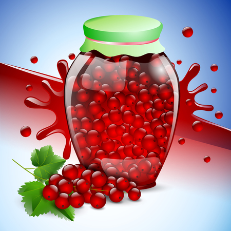 fruits bunch preserves currant glass jar berry leaf red