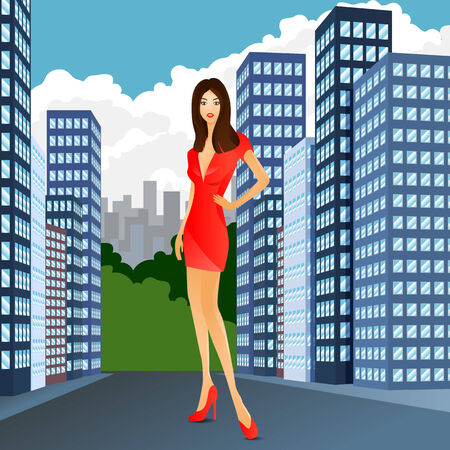 woman red dress: woman in red dress and shoes standing on the road in the city near buildings Illustration