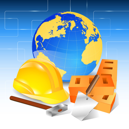 levelling: Construction helmet brick trowel hammer helmet Planet.