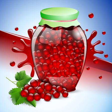 bank red currant jam berry fruit food. Иллюстрация