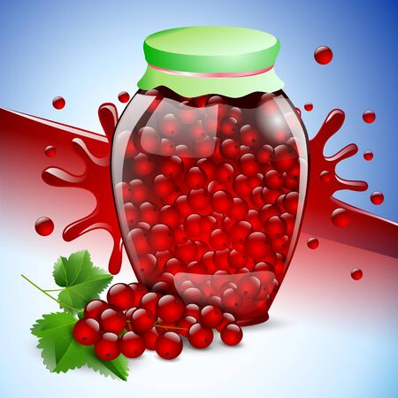 berry fruit: bank red currant jam berry fruit food. Illustration