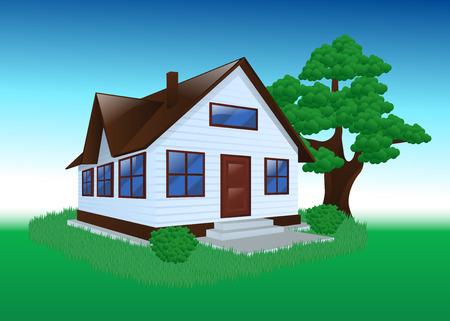Zahradní dům na stromě exteriér trávě přírodě Bush. Ilustrace