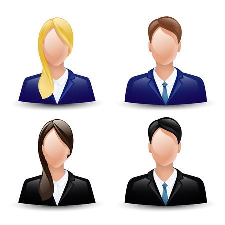 アバター アイコン ビジネス顔男性女性セット。  イラスト・ベクター素材