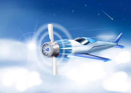 transmit: Travel background with airplane white clouds Vector.