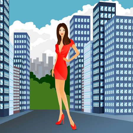 woman red dress: woman red dress city fashion street sale. Stock Photo