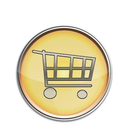 Shopping Cart Button Gold silver Stock Photo