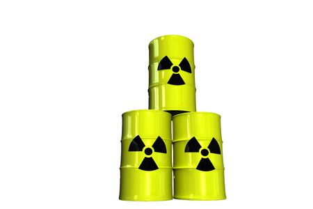 gelb: Atomm�ll F�sser atomic weaste Stock Photo