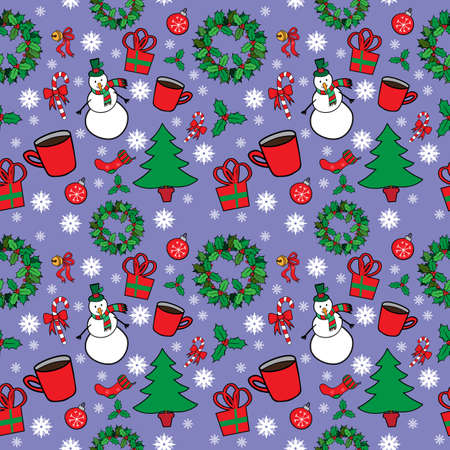 christmas seamless pattern: Christmas seamless pattern with snowman Illustration