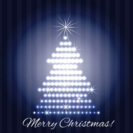 Christmas tree greeting card design Vector