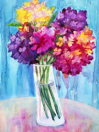 Watercolor painting with a bouquet of phlox photo