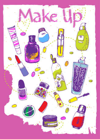 Colorful Hand-drawn cosmetic bottles Vector